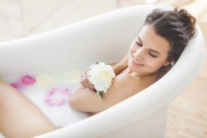 bathtub and natural bath oil
