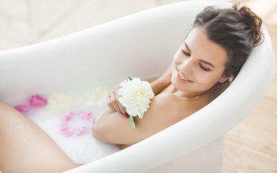 bathtub and natural bath oil